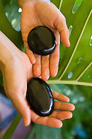 A massage therapist holds black pohaku (stones) in front of green tropical plants; the stones can be used for Lomilomi, or the Hawaiian healing art of massage.