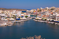 Agios Nikolaos panoramic photo with iconic view of lake Voulismeni