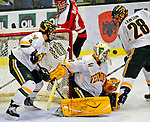 3 January 2009: University of Vermont Catamount goaltender Rob Madore, a Freshman from Venetia, PA, in action against the St. Lawrence Saints during the championship game of the Catamount Cup Ice Hockey Tournament hosted by UVM at Gutterson Fieldhouse in Burlington, Vermont. Madore recorded his first college career shut out against the Saints, leading the Cats to a 4-0 win and taking the tournament for the second time since its inception in 2005...Mandatory Photo Credit: Ed Wolfstein Photo