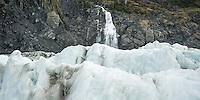 Crevasses and Victoria Waterfall on Fox Glacier, Westland Tai Poutini National Park, UNESCO World Heritage Area, West Coast, New Zealand, NZ