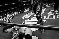 """A female Lucha libre wrestler Dark Angel falls out of the ring during a fight at Arena Mexico in Mexico City, Mexico, 26 April 2011. Lucha libre, literally """"free fight"""" in Spanish, is a unique Mexican sporting event and cultural phenomenon. Based on aerial acrobatics, rapid holds and the use of mysterious masks, Lucha libre features the wrestlers as fictional characters (Good vs. Evil). Women wrestlers, known as luchadoras, often wear bright shiny leotards, black pantyhose or other provocative costumes. Given the popularity of Lucha libre in Mexico, many wrestlers have reached the cult status, showing up in movies or TV shows. However, almost all female fighters are amateur part-time wrestlers or housewives. Passing through the dirty remote areas in the peripheries, listening to the obscene screams from the mainly male audience, these no-name luchadoras fight straight on the street and charge about 10 US dollars for a show. Still, most of the young luchadoras train hard and wrestle virtually anywhere dreaming to escape from the poverty and to become a star worshipped by the modern Mexican society."""