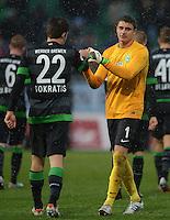 Fussball 1. Bundesliga :  Saison   2012/2013   9. Spieltag  27.10.2012 SpVgg Greuther Fuerth - SV Werder Bremen Sokratis Papastathopoulos und Torwart Sebastian Mielitz (v. li., SV Werder Bremen)