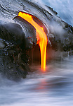 Lava flows entering the ocean, Hawaii Volcanoes National Park, Hawaii