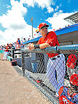 12 March 2012: Washington Nationals infielder Tyler Moore stands in the dugout prior to a Spring Training game against the St. Louis Cardinals at Space Coast Stadium in Viera, Florida. The Nationals defeated the Cardinals 8-4 in Grapefruit League play. Mandatory Credit: Ed Wolfstein Photo