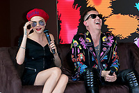 Model Cara Delevigne and designer Jeremy Scott present their collaboration Magnum X Maschino during the 70th Annual Cannes Film Festival at Plage l'Ondine in Cannes, France, on 18 May 2017. - NO WIRE SERVICE · Photo: Hubert Boesl/dpa /MediaPunch ***FOR USA ONLY***