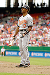 21 May 2006: Corey Patterson, center fielder for the Baltimore Orioles, at bat during a game against the Washington Nationals at RFK Stadium in Washington, DC. The Nationals defeated the Orioles 3-1 to take 2 of 3 games in their first inter-league series...Mandatory Photo Credit: Ed Wolfstein Photo..