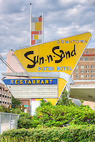 The iconic sign for the now defunct Sun-n-Sand Motor Hotel and restaurant in downtown Jackson, Mississippi.  The 1960's era hotel was a favorite of legislators due to its close proximity to the state capitol and office buildings.