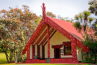 Te Whare Runanga (Maori Meeting House), Waitangi Treaty Grounds, north island, Paihia, New Zealand.  Opened in 1940, on the centenary of the signing of the treaty between the Maori and the British.  The explorer Kupe, Polynesian discoverer of New Zealand (Aotearoa), stands at the apex of the gable above the entrance to the house.