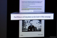 A exhibit of an email is shown during PAUL WATSON's, Founder of the Sea Shepherd Conservation Society, testimony in the United States Court of Appeals, Ninth Circuit in Seattle, Washington on November 6, 2013. Japanese whalers, researchers and other Japanese seafood business leaders claim Watson and the Sea Shepherd ships disrupted their whale hunt in the Southern Ocean during the 2012-2013 whaling season thereby violating an injunction they brought up against him issued by the court last December. (copyright Karen Ducey/KarenDucey.com)