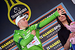 Davide Ballerini (ITA) Androni-Giocattoli wears the Maglia Verde King of the Mountains jersey on the podium at the end of Stage 2 of the 2017 Tirreno Adriatico running 229km from Camaiore to Pomarance, Italy. 9th March 2017.<br /> Picture: La Presse/Gian Mattia D'Alberto | Cyclefile<br /> <br /> <br /> All photos usage must carry mandatory copyright credit (&copy; Cyclefile | La Presse)