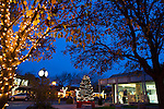 A Christmas tree glows brightly on the plaza located at First and Main Streets in preparation for the holidays.<br />