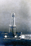 Client: St Louis World's Fair<br /> Product: Telegraph Tower<br /> Manufactuer: De Forest Wireless Telegraph Company<br /> <br /> St Louis Mo:  View of the DeForest Wireless Telegraph Tower at night at the Louisiana Purchase Exposition.