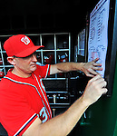19 May 2012: Washington Nationals Bench Coach Randy Knorr pins up the lineup card prior to a game against the Baltimore Orioles at Nationals Park in Washington, DC. The Orioles defeated the Nationals 6-5 in the second game of their 3-game series. Mandatory Credit: Ed Wolfstein Photo