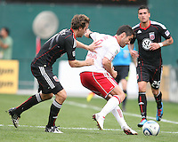 Carey Talley #8 of D.C. United pushes Juan Pablo Angel #9 of the New York Red Bulls during an MLS match on May 1 2010, at RFK Stadium in Washington D.C.