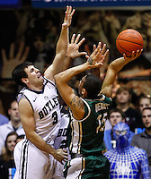 INDIANAPOLIS, IN - FEBRUARY 13: Alex Barlow #3 of the Butler Bulldogs defends as Pierria Henry #15 of the Charlotte 49ers shoots at Hinkle Fieldhouse on February 13, 2013 in Indianapolis, Indiana. Charlotte defeated Butler 71-67. (Photo by Michael Hickey/Getty Images) *** Local Caption *** Alex Barlow; Pierria Henry