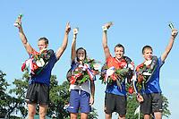 FIERLJEPPEN: VLIST: 22-08-2015, NK Fierljeppen/Polstokverspringen, Jaco de Groot (heren) 20.25m, Klaske Nauta (dames) 16.31m, Erwin Timmerarends (junioren) 19.79m, Gerwin Kastelein (jongens) 17.17m, ©foto Martin de Jong