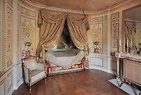 """Turkish Boudoir, redesigned in 1777 for Marie Antoinette, by architect Richard Mique, Chateau de Fontainebleau, France. The decoration is the achievement of the brothers Rousseau, and the furniture dates to the period of the First Empire, with precious textile work done by Jacob-Desmalter for Empress Josephine. Including a small bedroom, mirrors, and curtains raised by pulleys, this exceptional ensemble has been restored in 2014 thanks to the support of INSEAD and the generosity of subscribers of sponsors belonging to the group """"Des Mécènes pour Fontainebleau"""". Its opening to the public is scheduled for Spring 2015. Picture by Manuel Cohen"""