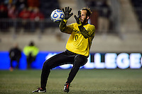 New Mexico Lobos goalkeeper Michael Lisch (0). The Notre Dame Fighting Irish defeated the New Mexico Lobos 2-0 during the semifinals of the 2013 NCAA division 1 men's soccer College Cup at PPL Park in Chester, PA, on December 13, 2013.