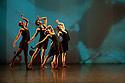 "London, UK. 14/03/2012. Shobana Jeyasingh Dance's new double bill ""Classic Cut"" premieres in the Linbury Studio Theatre, Royal Opera House. The company of dancers are: Kamala Devam, Rathimalar Govindarajoo, Sooraj Subramaniam, Sri Thina Subranmaniam, Devaraj Thimmaiah and Parshwanath Upadhye. This piece is ""Dev Kahan Hai?/ Where is Dev?"". Photo credit: Jane Hobson"