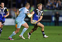 Michael Claassens looks to pass the ball. Aviva Premiership match, between Bath Rugby and Northampton Saints on September 14, 2012 at the Recreation Ground in Bath, England. Photo by: Patrick Khachfe / Onside Images