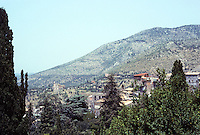Tivoli: Villa D'Este. Panoramic view of parched mountainside. Photo '83.
