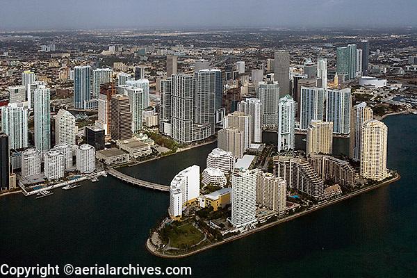 aerial photograph Brickell Key downtown Miami Florida