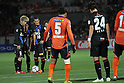 (L-R) Yosuke Kashiwagi, Tomoaki Makino,  Marcio Richardes (Reds),.APRIL 21, 2012 - Football / Soccer :.Yosuke Kashiwagi, Tomoaki Makino and Marcio Richardes prepare to take a free kick during the 2012 J.League Division 1 match between Omiya Ardija 2-0 Urawa Red Diamonds at NACK5 Stadium Omiya in Saitama, Japan. (Photo by Hiroyuki Sato/AFLO)