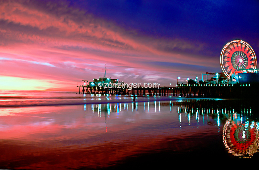 Santa Monica, Pacific Park, Pier, Fiery Sunset CGI Backgrounds, ,Beautiful Background