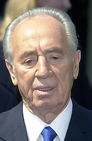 Foreign Minister Shimon Peres of Israel meets reporters outside the White House following his meeting with United States President George W. Bush on May 3, 2001.<br /> Credit: Ron Sachs / CNP /MediaPunch