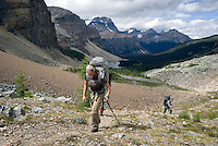 The Highline trail, Alberta and British Columbia, Canada, August 2008. Healy Pass is the first real hurdle to cross, it gives access to the Sunshine meadows. The Banff Highline trail can be hiked in 7 days and runs through Banff National park as well as Assiniboine Provincial park. Photo by Frits Meyst/Adventure4ever.com
