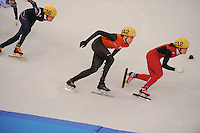 OLYMPICS: SOCHI: Iceberg Skating Palace, 13-02-2014, Shorttrack, Ladies' 500m, Quarterfinals, Jorien ter Mors (#142 | NED), Quihong Liu (#112 | CHN), ©photo Martin de Jong