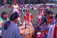 Native American Indian Drummers chanting and beating Drum at Pow Wow, Tsartlip Indian Reserve, Vancouver Island, BC, British Columbia, Canada