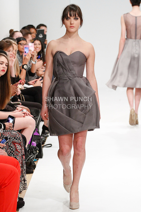 Model walks runway in an outfit from the Leanne Marshall Fall 2014 collection, for Fashion Gallery Fashion Week Fall 2014, during New York Fashion Week Fall 2014, February 9, 2014.