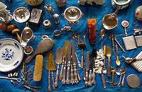 Brocante sale (bric a brac) held in a street market in Brussels, Belgium