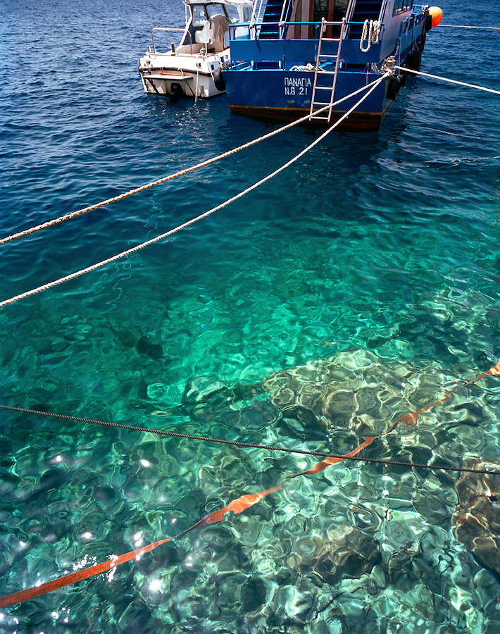 Crystal clear waters of Santorini, Cyclades Islands, Greece, Europe
