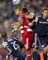 FC Dallas forward Maicon Santos (9) in a corner kick mix. In a Major League Soccer (MLS) match, the New England Revolution defeated FC Dallas, 2-0, at Gillette Stadium on September 10, 2011.