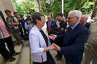 Venice, Italy - 15th Architecture Biennale 2016, &quot;Reporting from the Front&quot;.<br /> Giardini.<br /> German Pavilion. MAKING HEIMAT. Germany, Arrival Country. Opening with German Minister of Construction, Mrs. Barbara Hendricks (white jacket), here greeting Biennale President Paolo Baratta.