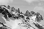 The Minarets in winter, Ansel Adams Wilderness, Sierra Nevada Mountains, California USA