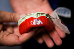 FRESNO, CA - AUGUST 11, 2014:   Fresno State football players get custom mouthguards with their mascot, the Bulldogs. CREDIT: Max Whittaker for The New York Times