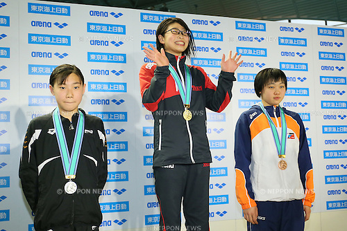 (L to R) <br /> Sayuki Ouchi, <br /> Chinatsu Hattori, <br /> Serena Sasahara, <br /> MARCH 29, 2015 - Swimming : <br /> The 37th JOC Junior Olympic Cup <br /> Women's 50m Freestyle <br /> 13-14 years old award ceremony <br /> at Tatsumi International Swimming Pool, Tokyo, Japan. <br /> (Photo by YUTAKA/AFLO SPORT)