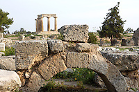 A detail of an archway near the Temple of Apollo, on April 16, 2007 in Corinth, Greece. The Temple of Apollo is one of the oldest in Greece, originally built in the 7th century AD.  Corinth, founded in Neolithic times, was a major Ancient Greek city, until it was razed by the Romans in 146 BC.