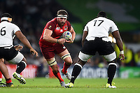 Tom Wood of England in possession. Rugby World Cup Pool A match between England and Fiji on September 18, 2015 at Twickenham Stadium in London, England. Photo by: Patrick Khachfe / Onside Images