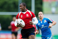 Lesley Klim of Namibia runs in a try. FISU World University Championship Rugby Sevens Men's 5th/6th place match between Namibia and Italy on July 9, 2016 at the Swansea University International Sports Village in Swansea, Wales. Photo by: Patrick Khachfe / Onside Images