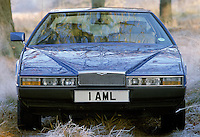 New Aston Martin Lagonda sports car in winter scene at the factory in Newport Pagnell, Buckinghamshire
