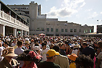 Fans gather at the Paddock on race day at Churchill Downs, home to the famed Kentucky Derby in Louisville, Kentucky.