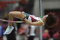 NWA Democrat-Gazette/ANDY SHUPE<br /> Arkansas junior Taliyah Brooks competes in the high jump invitational Saturday, Feb. 11, 2017, during the Tyson Invitational in the Randal Tyson Track Center in Fayetteville. Visit nwadg.com/photos to see more photographs from the meet.