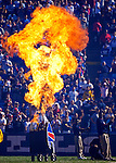 21 October 2007: A plume of fire erupts on the playing field as part of the pre-game introductions prior to a game between the Buffalo Bills and the visiting Baltimore Ravens at Ralph Wilson Stadium in Orchard Park, NY. The Bills defeated the Ravens 19-14 in front of 70,727 fans marking their second win of the 2007 season...Mandatory Photo Credit: Ed Wolfstein Photo
