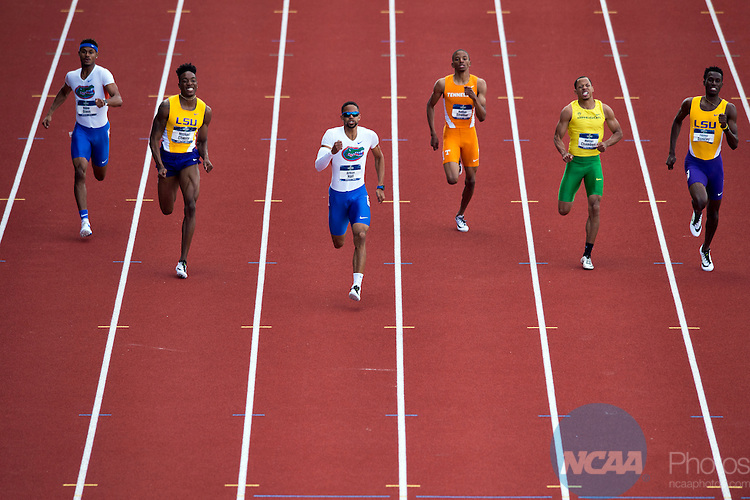 10 JUNE 2016:  Arman Hall of Florida leads the field of the men's 400 meter dash during Division I Men's and Women's Outdoor Track & Field Championship is held at the Hayward Field in Eugene, OR.Hall won the race with a time of 44.82.  Stephen Nowland/NCAA Photos