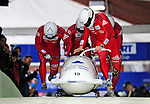 22 November 2009:  Pierre Lueders, piloting the Canada 2 bobsled, leads his 4-man team to a 9th place finish at the FIBT World Cup competition, in Lake Placid, New York, USA. Mandatory Credit: Ed Wolfstein Photo