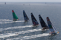FRANCE, Lorient. 1st July 2012. Volvo Ocean Race, Start Leg 9 Lorient-Galway. l-r Groupama Sailing Team, Team Telefonica, PUMA Ocean Racing powered by BERG, Abu Dhabi Ocean Racing and Team Sanya.
